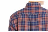 Camisas de tela escocesa aptas de la obra clásica larga de la funda de la alineada de los hombres