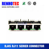 LEDs를 가진 8p8c 모듈라 잭 RJ45 암 커넥터