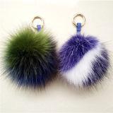 Bunter gefälschter Pelz POM POM Wholesale Handtaschen-Charme-Pelz-Kugel des Fauxfox-Pelz-POM mit Zeichen