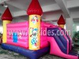 Het Roze die van de clown en van de Prinses Opblaasbaar kasteel springen