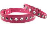 Collares del animal doméstico del diamante de la pirámide de la calidad/productos de cuero del gato del perro (KC0050)