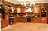 Armário gama alta da cozinha, gabinetes de cozinha da madeira contínua