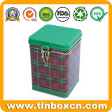 Квадратный Caddy чая с воздухонепроницаемой крышкой, коробкой олова чая