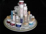 Countertop-runder freier Spiegel-füllt weißer kosmetischer acrylsauerausstellungsstand, Makup Organisator, Skincare Organisator ab