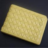 ヨーロッパの羊皮によって編まれる札入れのジッパーのバッグレディー短くかわいいカード袋(111)