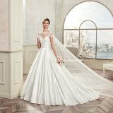 O laço curto elegante da luva Appliques A - linha vestido de casamento 2017 do cetim