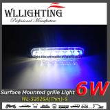 6개의 W 얇은 경고 석쇠 표면 마운트 LEDs 빛