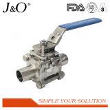 Robinet à tournant sphérique 3PCS soudé bout à bout sanitaire avec le support de fixation ISO5211