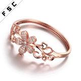 Pulsera de cobre Shaped plateada oro de la flor de la joyería de la manera para las mujeres