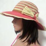 100% Strohhut, Style der Form-Dame mit Streifen und Blumen-Dekoration