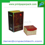 Rectángulo de regalo de empaquetado del papel revestido del vino de encargo de la joyería