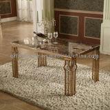 Tableau de marbre de Dinining de 6 de Seaters en métal pattes de Tableau