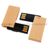 Disco de destello del eslabón giratorio de madera USB / Flash Drive