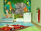 Papel pintado lindo decorativo casero de los murales de los animales del parque zoológico para la pared del sitio de los cabritos