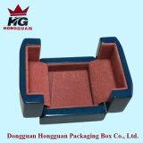 Коробка открытого голубого High-Light двойника деревянная для ювелирных изделий