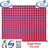 Azulejo de piso modular realzado de los PP del suelo del baloncesto de la vena del patrón que se enclavija