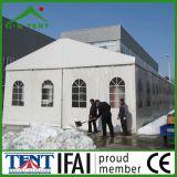 mostra dell'alluminio di 30m x di 15m che fa pubblicità alla tenda della fiera commerciale