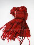 Lenço da garganta da senhora Inverno Morno Vermelho Confeção de malhas acrílica da forma com franja
