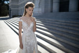 Blosser Ausschnitt-Brautkleid-Kurzschluss Sleeves Betra Hochzeits-Kleider B1608