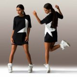 Печати втулки 100%Polyester OEM платье краткости звезды сексуальной половинной глянцеватое