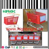 De metal cesta de la compra de monedas de bloqueo para el supermercado carrito de la compra