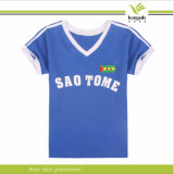 Customzied Polyester Women v Neck Printing T Shirts (ky t016009)