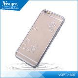 Platear la caja suave transparente brillante del teléfono móvil TPU para el iPhone