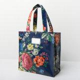 2つのサイズは防水するPVCキャンバスの濃紺の潮花のショッピング・バッグ(CK005)を