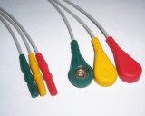 Cable del Leadwire ECG del estruendo Holter Snap&Clip 3 del monitor paciente