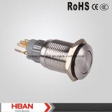 commutateurs de bouton poussoir 16mm momentanés plats d'acier inoxydable de 250VAC IP67
