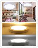 La lámpara redonda casera montada superficie del techo de la luz del panel de la iluminación LED abajo se enciende