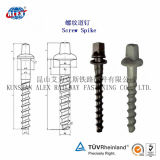 Railway Fastening System를 위한 가로장 Slotted Indented Screw Spikes