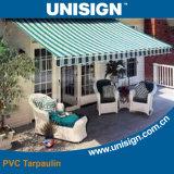 Encerado UV listrado impermeável revestido do pára-sol do PVC