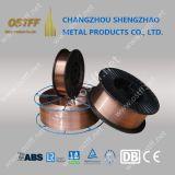 """0.035 """" fil de soudure enduit de cuivre de MIG d'acier du carbone d'Er70s-6/Sg2 dans le boisseau du plastique 15kg"""