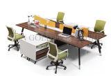Mobília de escritório de madeira 4 assentos L estação de trabalho da divisória do escritório da forma (SZ-WST723)