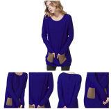 Maglione lavorato a maglia cachemire di lusso blu di colore