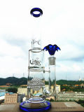 Hb-K48 Honeycomb con Two Half Ball Perc Windmill Wheel Shape Glass Smoking Water Pipe