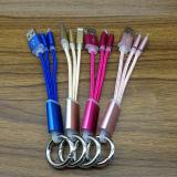 Precio al por mayor 2 en 1 cable trenzado de nylon del USB de Keychain