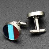 Cufflinks металла оптовых изготовленный на заказ круглых серебряных людей способа эмали