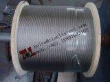 1000m 당 AISI 316 1X19 8mm 스테인리스 철사 밧줄 순중량 320kg