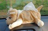 Coperchio di casella farcito peluche del tessuto di figura del cane della decorazione dell'automobile