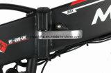 脂肪質のタイヤが付いているEのバイクを折る雪によって隠される電池