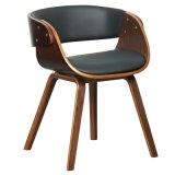 Chaise à manger en rembourrage en faux cuir en faïence en noyer (W13815-4)