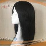 de sistema revestido polivinílico negro del Mens de la frontera del pelo humano, Toupee del pedazo del pelo