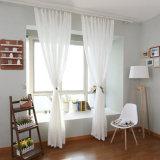 최신 판매 면 리넨 백색 보일 투명한 커튼 직물 (17F0088)