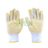 Gants blancs de coton de main pointillés par PVC fonctionnant des gants de sûreté de gants