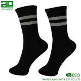 Weiß mit schwarzer unterer Mann-Socken-Baumwolle