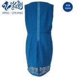 Vestito da partito lungo sottile Scavare-Più basso delle signore della Posteriore-Chiusura lampo Sleeveless blu del Rotondo-Collare