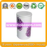 Contenitore rotondo di stagno con il commestibile, barattolo di latta del metallo