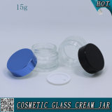 choc en verre vide cosmétique en verre transparent de crème de face de 15g 1/2 once